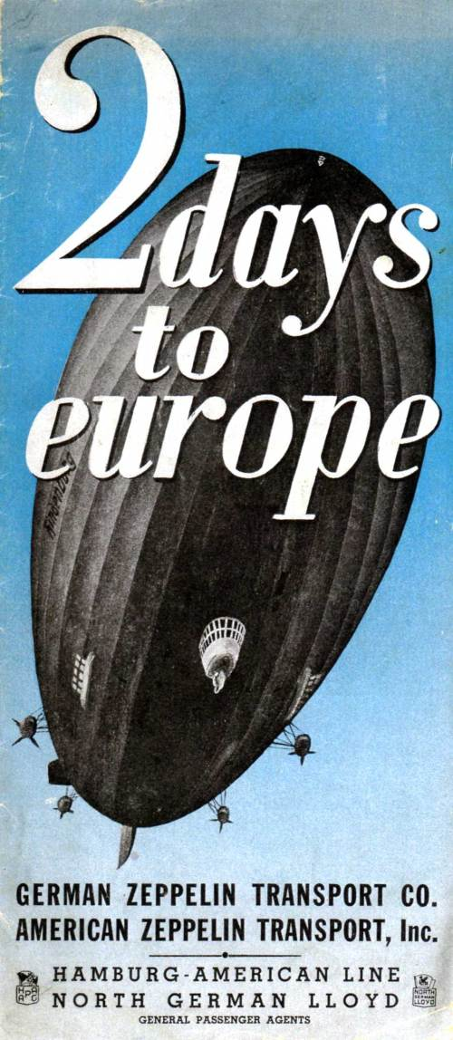 Advertisement for trans-atlantic travel on the Hindenburg. Author's collection.
