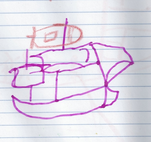 Elizabeth's first sailing ship, drawn just like John Alexander taught me when I was not too much older than her. (Elizabeth added the flag on her own).
