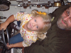 Elizabeth & Joe Combs in an Office of Naval Research (O.N.R.) submarine, April 2008.