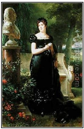This is a reproduction of an original portrait showing Madame bessieres, dressed in morning with the bust of her husband that is in the hall of heros in paris. Reproductions are available at http://www.artchive.com/web_gallery/R/Robert-Jacques-Francois-Faust-Lefevre/Portrait-of-Madame-Bessieres.html