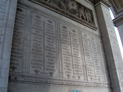 Jean Baptiste Bessieres' name is on the east wall of the Arch De Triumph. Second col. from the left third stone up from the bottom. The line under his name denotes he was killed in action. His younger brother is on the South wall without the line because his brother survived the wars.