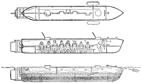 A 1900 drawing of the submarine H.L. Hunley