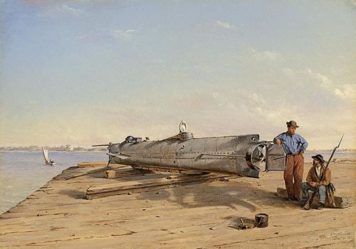 "Oil on panel painting entitled ""Submarine Torpedo Boat H.L. Hunley, Dec. 6, 1863"" by Conrad Wise Chapman. Painted in 1864, on display in the American Civil War Museum"