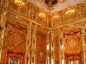 Photograph of the second Amber Room, now on displayed in the Cathrine Palace, St. Petersburg, Russia. Photo credit, Wikipedia.org, public domain.