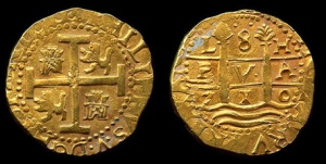 """8 escudos Lima 1710"" by Augi Garcia - Photo Augi Garcia for Daniel Frank Sediwck, LLC Treasure Auction #4. Licensed under Creative Commons Attribution-Share Alike 3.0 via Wikimedia Commons - http://commons.wikimedia.org/wiki/File:8_escudos_Lima_1710.jpg#mediaviewer/File:8_escudos_Lima_1710.jpg."