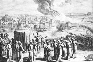The covered ark with golden staves carried by the priests, and seven priests with rams' horns, at the Battle of Jericho, in an eighteenth-century artist's depiction.