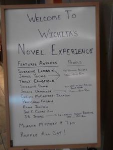 The list of authors at the Wichita Novel Experience, May 9, 2015 at the Holiday Inn East Wichita Kansas