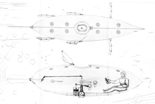 De Villeroi's first submarine. United States Public Domain