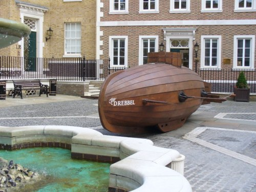 The Drebbel Reconstruction of a wooden submarine which was oar-powered! This reconstruction proved itself in the Thames. It now sits in an enclosed yard by Richmond bridge. Attribution: Colin Smith