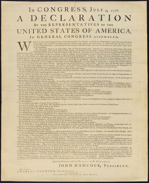 The Dunlap Broadside Printed the night of July 4, 1776.