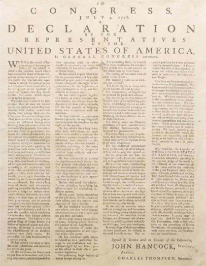 There were many different broadsides authorized by the states after the announcement of the declaration more than 15 that are known of. This broadside was authorized and printed in Massachusetts.