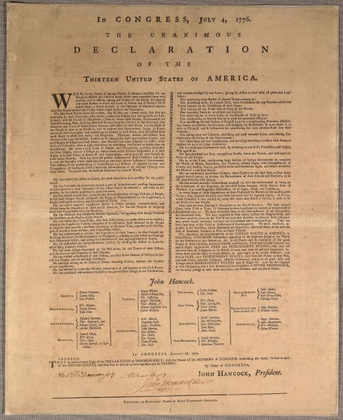 Goddard Broadside printed January 1777.